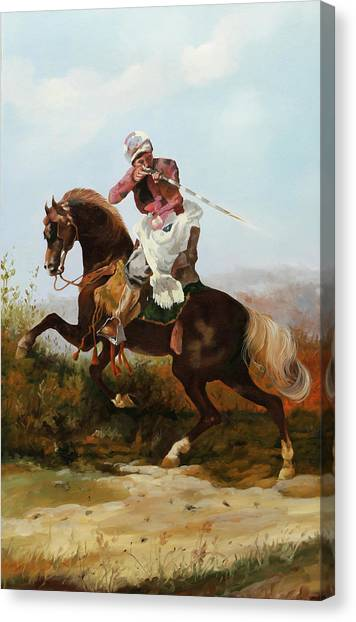 Knights Canvas Print - Il Fucilatore Di Sassi by Guido Borelli