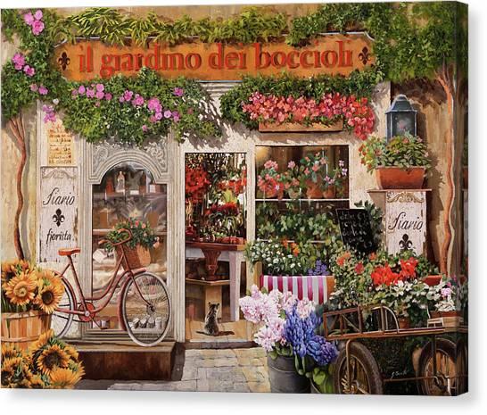 Shops Canvas Print - Il Giardino Dei Boccioli by Guido Borelli