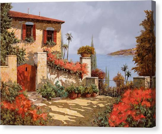 Door Canvas Print - Il Giardino Rosso by Guido Borelli