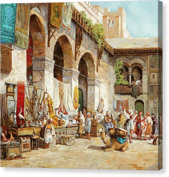 Camel Canvas Print - Il Mercato Arabo by Guido Borelli