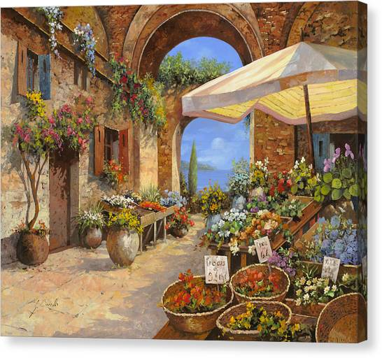 Vegetables Canvas Print - Il Mercato Del Lago by Guido Borelli