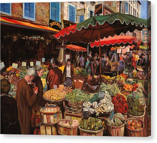 Fruit Baskets Canvas Print - Il Mercato Di Quartiere by Guido Borelli
