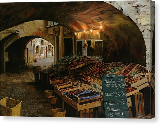 Street Scenes Canvas Print - Il Mercato Francese by Guido Borelli