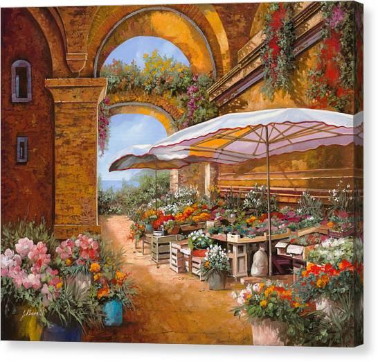Market Canvas Print - Il Mercato Sotto I Portici by Guido Borelli
