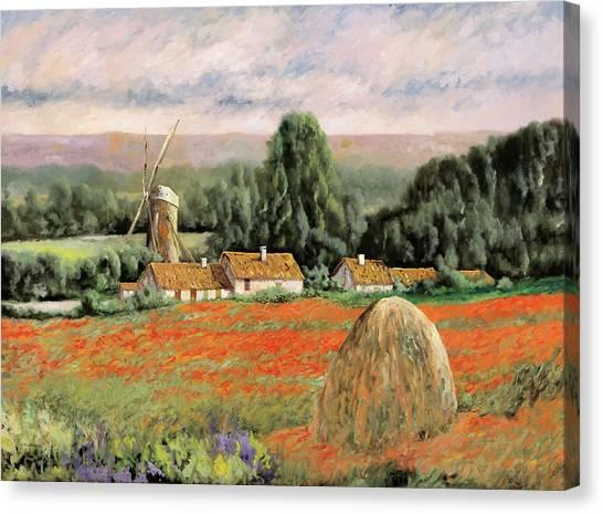 Poppy Fields Canvas Print - Il Mulino Nel Bosco by Guido Borelli