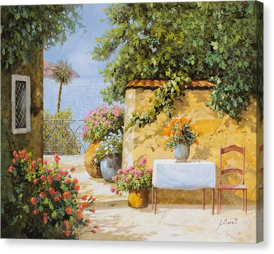 Tables Canvas Print - Il Muretto E Il Mare by Guido Borelli