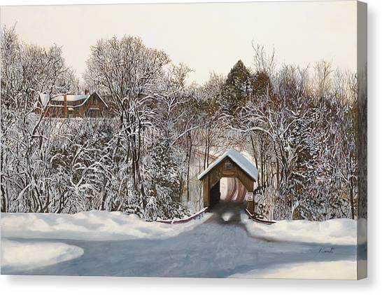 Vermont Canvas Print - Il Ponte Coperto Di Legno by Guido Borelli