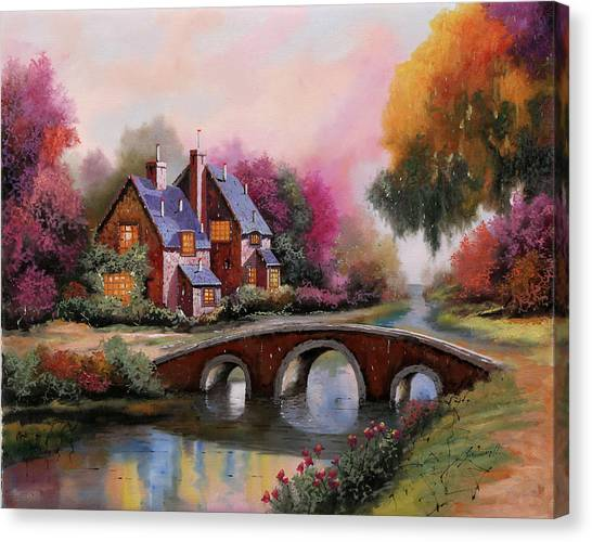 Bridge Canvas Print - Il Ponticello A Colori by Guido Borelli