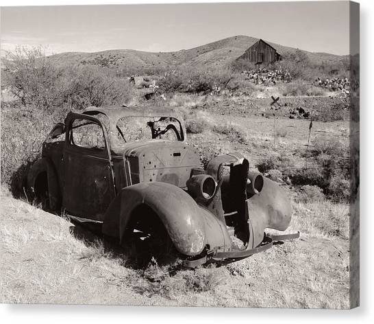 Corde Canvas Print - Illegally Parked, Monochrome by Gordon Beck