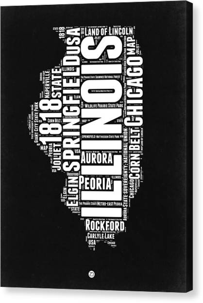 University Of Illinois Canvas Print - Illinois Black And White Word Cloud Map  by Naxart Studio