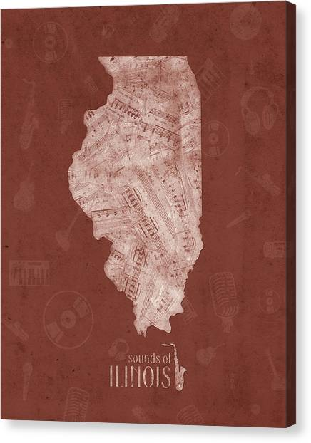 University Of Illinois Canvas Print - Illinois Map Music Notes 5 by Bekim Art