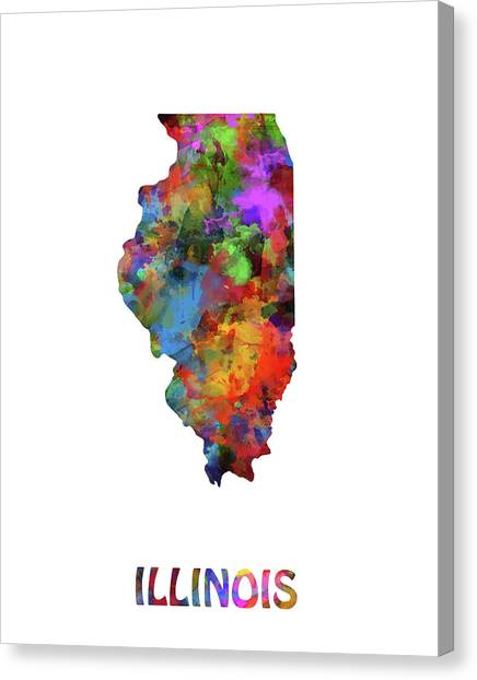 Illinois Map Canvas Print - Illinois Map Watercolor by Bekim Art