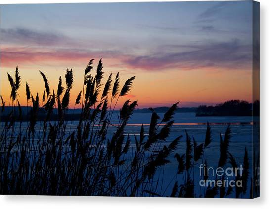 Illinois River Winter Sunset  Canvas Print