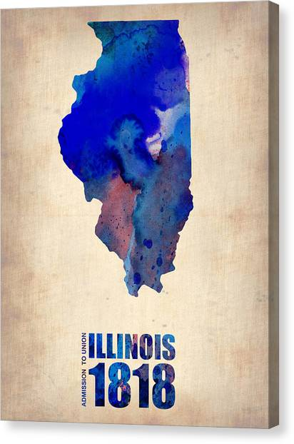 University Of Illinois Canvas Print - Illinois Watercolor Map by Naxart Studio