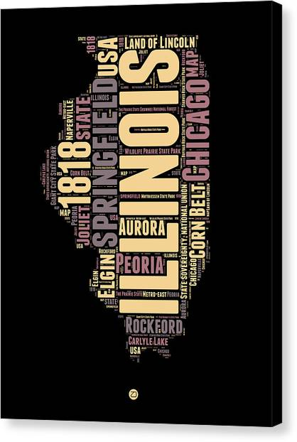 University Of Illinois Canvas Print - Illinois Word Cloud Map 1 by Naxart Studio