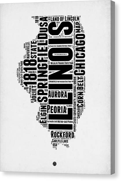 University Of Illinois Canvas Print - Illinois Word Cloud Map 2 by Naxart Studio
