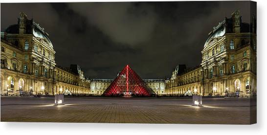 Le Louvre Canvas Print - Illuminated Louvre Museum, Paris by Maggie McCall