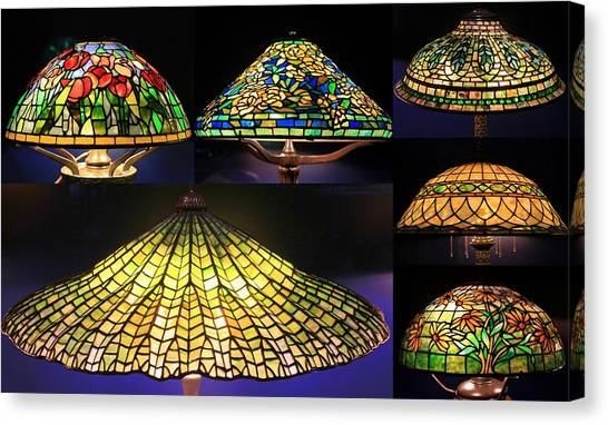Illuminated Tiffany Lamps - A Collage Canvas Print