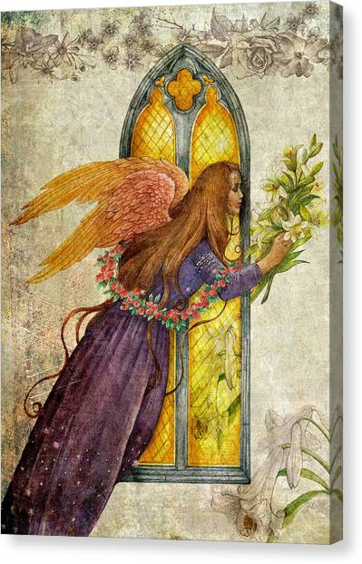 Illustrated Angel And Lily Canvas Print