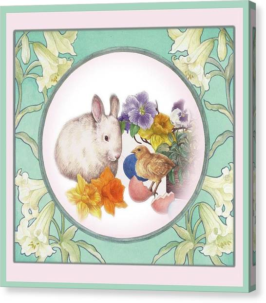 Canvas Print featuring the painting Illustrated Bunny With Easter Floral by Judith Cheng
