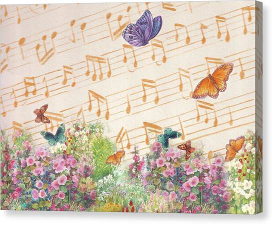 Canvas Print featuring the painting Illustrated Butterfly Garden With Musical Notes by Judith Cheng