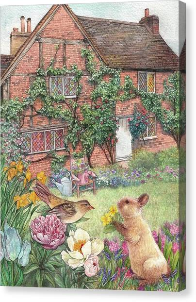 Canvas Print featuring the painting Illustrated English Cottage With Bunny And Bird by Judith Cheng