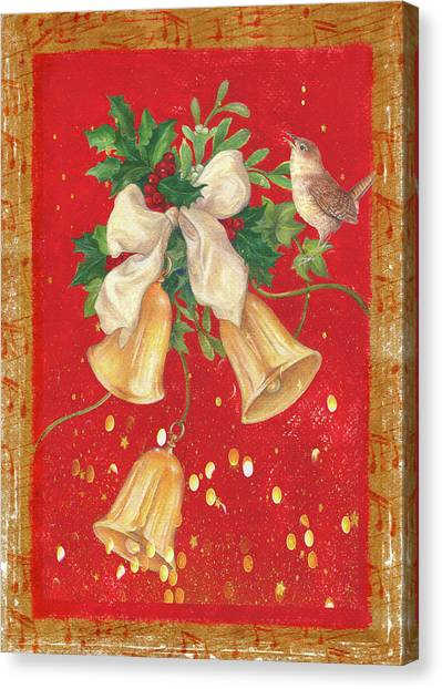 Illustrated Holly, Bells With Birdie Canvas Print