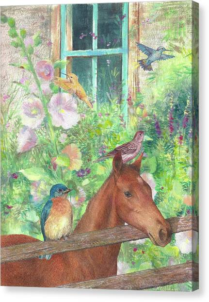 Canvas Print featuring the painting Illustrated Horse And Birds In Garden by Judith Cheng
