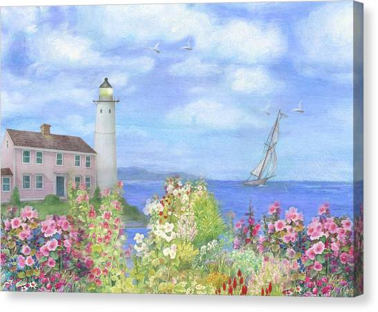 Canvas Print featuring the painting Illustrated Lighthouse By Summer Garden by Judith Cheng