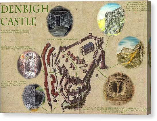 Illustrated Map Of Denbigh Castle 1611 Ad Canvas Print by Martin Williams