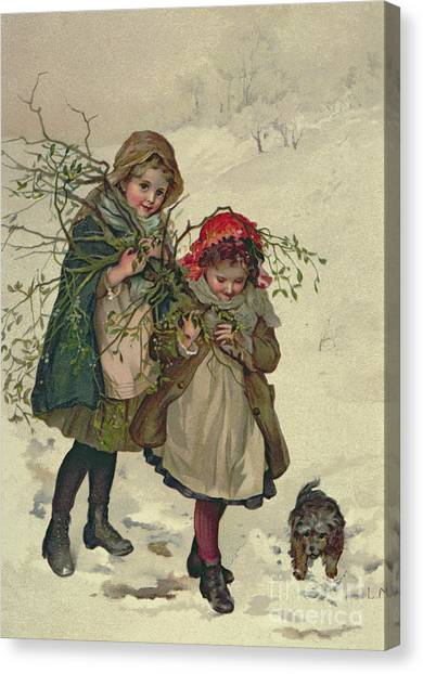 Dogs In Snow Canvas Print - Illustration From Christmas Tree Fairy by Lizzie Mack