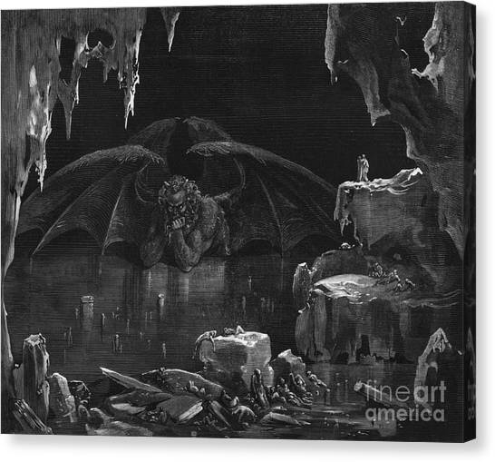 Caverns Canvas Print - Illustration From The Divine Comedy by Gustave Dore