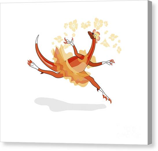 Velociraptor Canvas Print - Illustration Of A Ballerina Dancing by Stocktrek Images