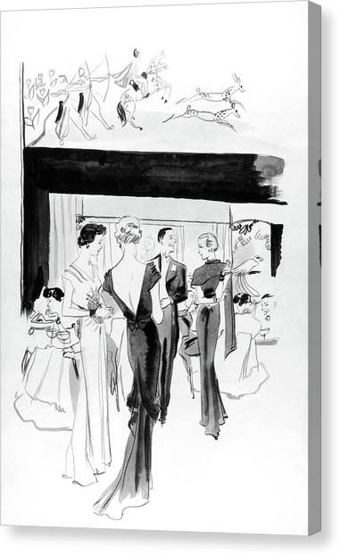 Illustration Of A Man And Women At The Plaza Canvas Print by Jean Pages