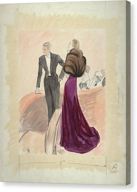 Illustration Of A Woman And Man Dressed Canvas Print