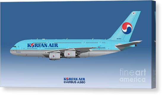 Airplane blueprint canvas prints page 11 of 19 fine art america airplane blueprint canvas print illustration of korean air airbus a380 blue version by steve malvernweather Images