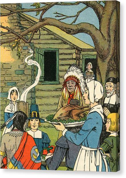 Turkey Dinner Canvas Print - Illustration Of The First Thanksgiving by American School