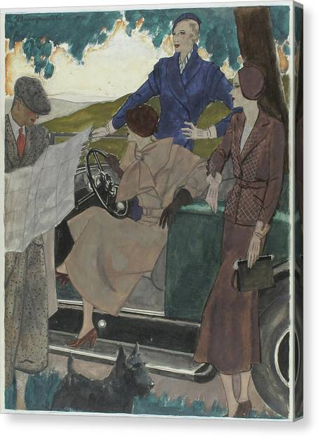 Illustration Of Three Women Leaving A Parked Car Canvas Print