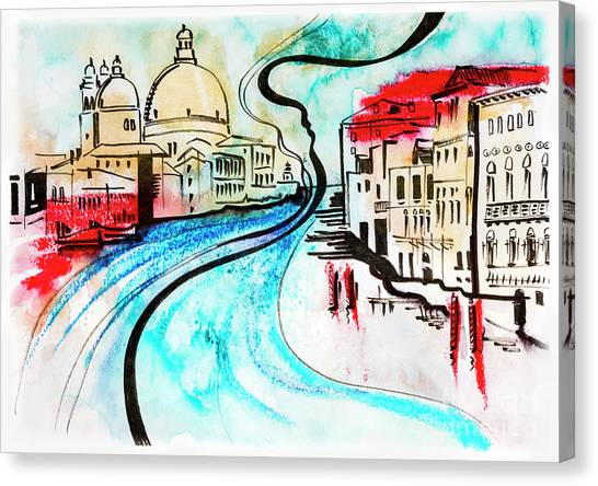 illustration of travel, Venice Canvas Print