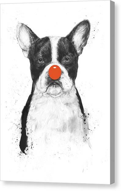 Bulldog Canvas Print - I'm Not Your Clown by Balazs Solti