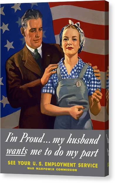 American Flag Canvas Print - I'm Proud... My Husband Wants Me To Do My Part by War Is Hell Store