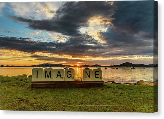 Imagine Sunrise Waterscape Over The Bay Canvas Print