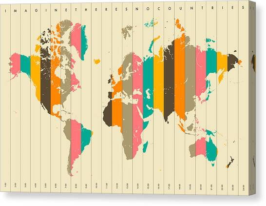 Map Canvas Print - Imagine There's No Countries 2 by Jazzberry Blue