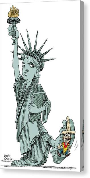 Canvas Print featuring the drawing Immigration And Liberty by Daryl Cagle