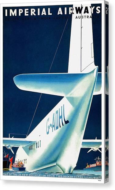 Seaplanes Canvas Print - Imperial Airways - Europe, Africa, India, Far East, Australia - Retro Travel Poster - Vintage Poster by Studio Grafiikka