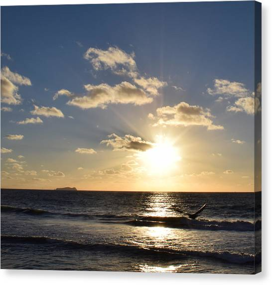 Sunset Reflection At Imperrial Beach Canvas Print