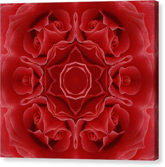 Imperial Red Rose Mandala Canvas Print
