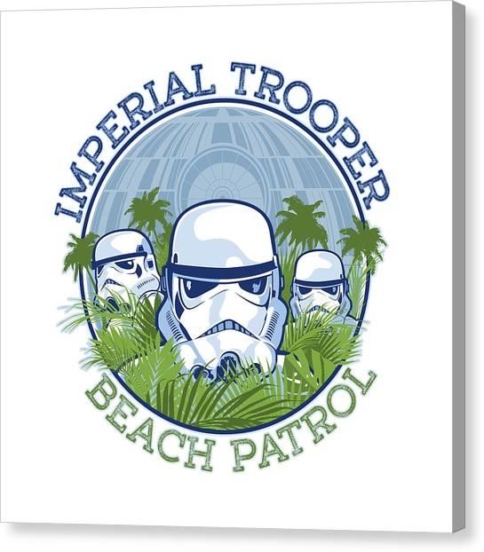 Stormtrooper Canvas Print - Imperial Trooper Beach Patrol by Edward Draganski