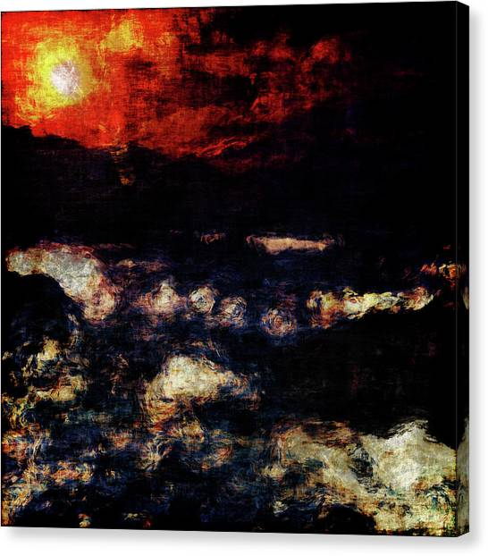 Canvas Print featuring the painting Impression Of A Seaview by Jan Keteleer