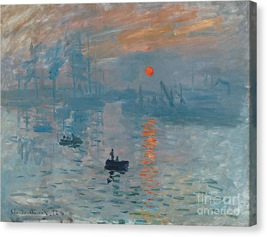 Boat Canvas Print - Impression Sunrise by Claude Monet